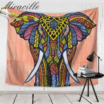 Miracille Indian Hippie Tapestry for Summer Holiday Elephant Painting Wall Hanging Tapestries Fashion Beach Towel Home Decor