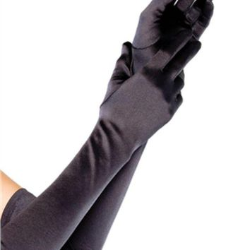 DCCKLP2 Extra Long Satin Gloves in BLACK