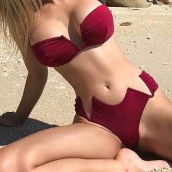 Burgundy Dandeau V-Neck Bikini Set