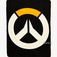 "Licensed cool OVERWATCH Video Game Throw Blanket Gamer LOGO Super Soft Fleece  45""x60"" NWT"