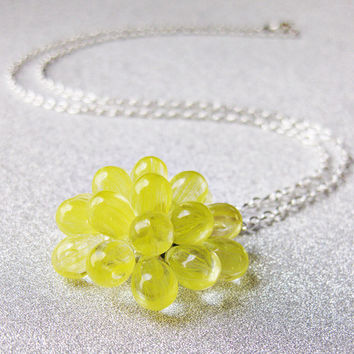 Lemon Berry Necklace, Yellow Pendant Necklace - Limited Edition Cluster Necklace, Yellow Statement Necklace, Cluster necklace, Bridesmaids