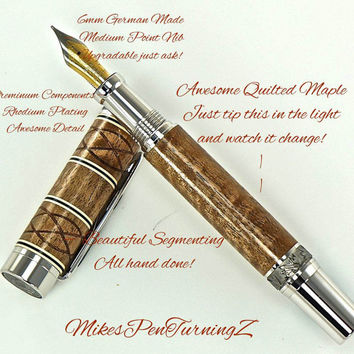 Custom Wooden Pen Fountain Beautiful Quilted Maple with accent Knots Cream and Black rings Rhodium and Black Titanium 729FPXLA