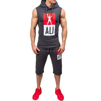 2017 Fashion Casual Slim fit Mens Tracksuit Set Summer Men Sportwear Print Clothes Suit Hooded Vest Tops +Short 2PCS TZ14