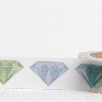 Gem Washi Tape, Colored Diamonds Gemstone Washi 15mm