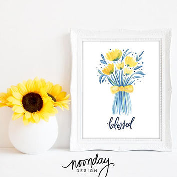 Blessed Printable Art - Inspirational Printable Art - Watercolor Flowers Printable - Scripture Art - Watercolor Art