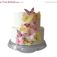 EASTER CAKE Decorations - 12 Edible Butterflies Yellow and Pink - Spring Wedding Cupcake Topper
