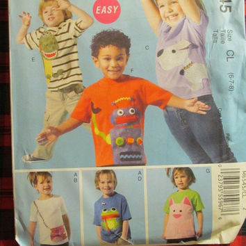 SALE Uncut McCall's Sewing Pattern, 6545! 6-7-8 Girls/Boys/Kids/Children's Shirts/T-Shirts/Tops & Appliques, Frog/Dinosaur/Dogs/Cats