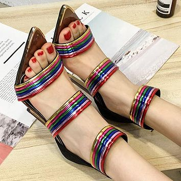 Fashion hot selling pointed rainbow women's shoes toe-open sexy high-heeled sandals