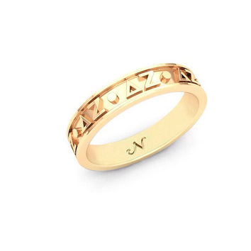 Delta Zeta Yellow Gold Plated Original Signature Letter Ring, available in any Sorority