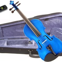 Music Basics Violin Complete Kit with Free Tuner - Blue 1/4 Size (VLN-12-Blue 1/4)