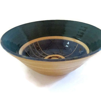 Blue pottery bowl. Small ceramic bowl. Ceramics handmade. Farmhouse pottery. Unique design. Rural. Blue brown green