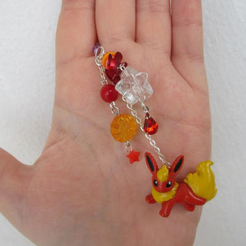 Pokémon Cell Phone Charm - FLAREON Dust plug charm, Pokemon Trainer Gear - Pokemon phone charm