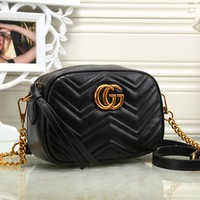 """Gucci"" Women Simple Fashion Zip Double G Logo Metal Chain Single Shoulder Messenger Bag"