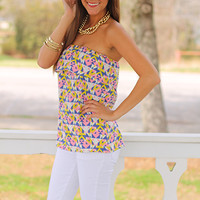 Bailey Tube Top, Pink Multi