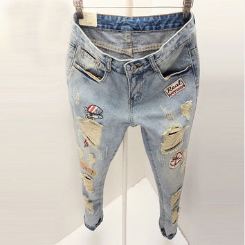 summer Korean fashion embroidery patch hole jeans with holes female hip hop hipster ripped jeans american apparel