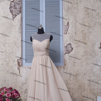 Simple Chiffon Ruffle Champagne Long Bridesmaid Prom Dresses/prom dresses/prom dress/bridesmaid dresses/bridesmaid dress/evening dress