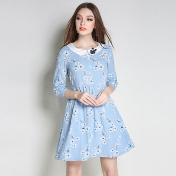 Peter Pan Collar Floral Printed Baby Doll Dress Three Quarter Sleeve Tie Waist Cotton Mini Dresses Plus Sizes l to 5xl