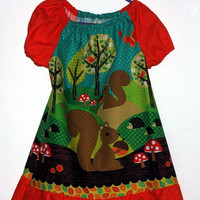 Baby/ toddler/ child peasant dress in Nuts for Dinner sizes 6 months to 6 years made to order