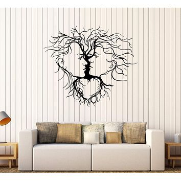 Vinyl Wall Decal Loving Couple Abstract Tree Romantic Decoration Stickers Unique Gift (254ig)