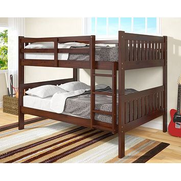 Max Full Size Cappuccino Bunk Beds for Kids
