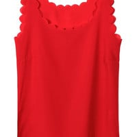 Red Chiffon Vest with Scallop Hem