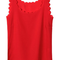 Red Chiffon Tank Top with Scallop Hem
