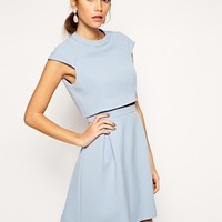 ASOS A-Line Skater Dress with Double Layer and High Neck