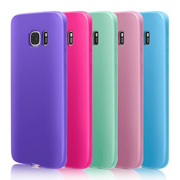 S7 Edge Case, Pofesun 5Pack Slim Thin Scratch Resistant TPU Gel Rubber Premium Soft Bumper Skin Silicone Protective Case Cover for Samsung Galaxy S7 Edge G935F (2016)-Pink/Rose/Mint/Purple/Blue