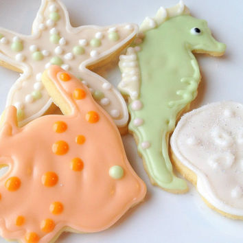 Sea Life Sugar Cookie Wedding Beach Theme Iced Decorated Cookie Seahorse Fish