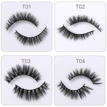 1 Pair Beauty Hand Made Thick Curly 3D Horse Hair False Eyelashes Fake Eye Lashes Natural Long Mink Makeup Extension Tools