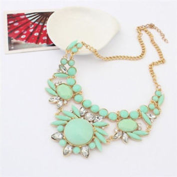 New Jewelry Crystal Chunky Statement Bib Pendant Chain Choker Necklace Green LSZ07