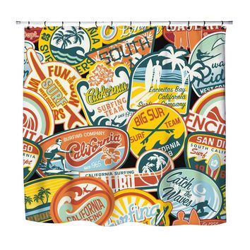 California Vintage Surf Stickers Shower Curtain