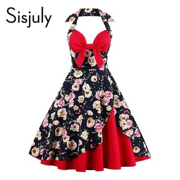 Sisjuly summer vintage dress retro patchwork floral print bowknot backless party dresses halter sleeveless women vintage dresses