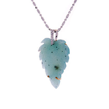Blue Drusy Pendant, Leaf Pendant, Diamond necklace