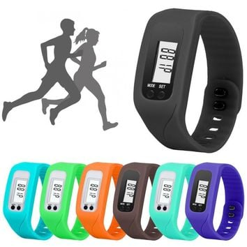 Outdoor Sports Fitness  Digital LCD Pedometer Run Step Walking Distance Watch Bracelet#YL