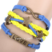 LOVE stars hand-woven dogan leather bracelet, personalized bracelets, unisex jewelry bracelet QNW8039
