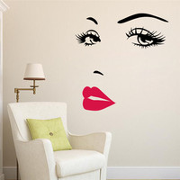 sexy girl lip eyes wall stickers living bedroom decoration