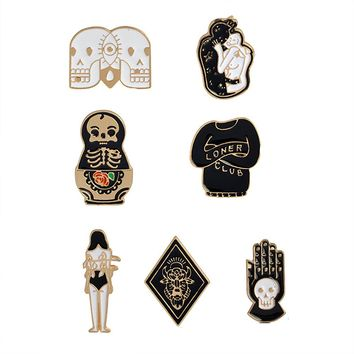 Cartoon Skull Women Brooches Collar Pins Set Enamel Button Black Totem Bound For Jacket Shirt