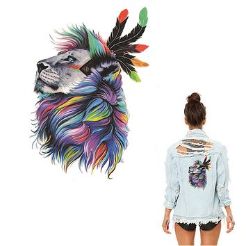 Watercolor Lion Animal Ironing Stickers Patch Clothing Household Iron-on Heat Transfer DIY Decoration Appliqued Parches for Coat