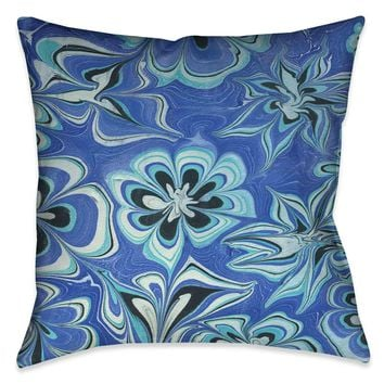 Blue Flower Marble Outdoor Decorative Pillow