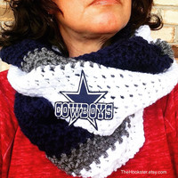 Crochet Blue, Grey/Silver and White Scarf, Dallas Cowboys Scarf, NFL, Football, Team Colors, Infinity Scarf, Cowboys Logo, Unisex Scarf