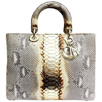 Christian Dior Lady Dior Large Python Bag