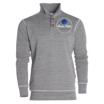 Official NCAA Boise State Broncos BSU Buster Bronco Women's Boyfriend Fit Triblend 1/4 Button Pullover Full Sleeve O-Neck Durable Premium Sweatshirt