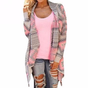 Women's Pink/Gray Aztec Tribal Print Asymmetrical Hem Casual Cardigan Jacket