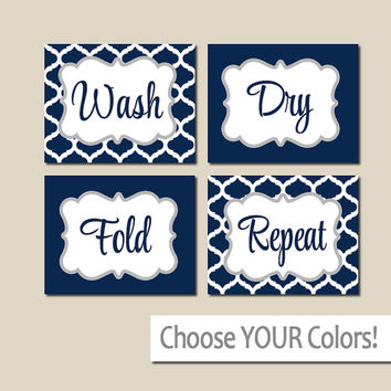 LAUNDRY Wall Art, CANVAS or Prints Navy Gray, Wash Dry Fold Repeat, Laundry Room RULES, Choose Colors, Set of 4 Quatrefoil Home Decor
