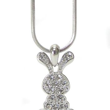 Whitegold Plating Epoxy and Crystal Silver Bunny Pendant Necklace