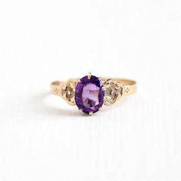 Antique 10k Rosy Yellow Gold Victorian Amethyst Ring - Late 1800s Edwardian Vintage Size 7 Large Oval 1+ Carat Purple Gemstone Fine Jewelry