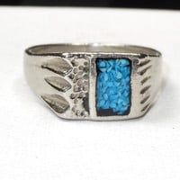 Vintage MENS Silver TURQUOISE Inlay Ring Square Native American Indian Bear Claw Big Large Size 12.5