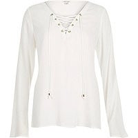 Cream lace up eyelet long sleeve top - tops - sale - women