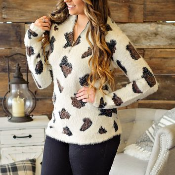 * Shes Wild Leopard Pullover: Ivory